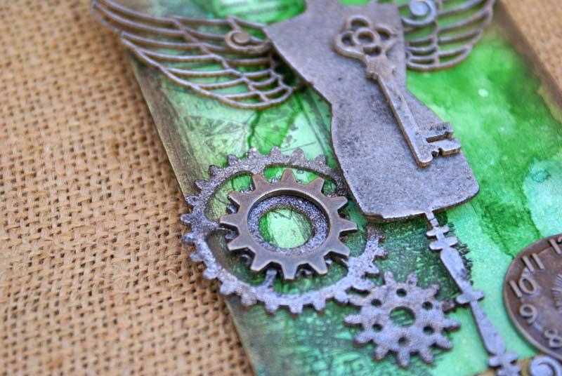 Steampunk tag dress form 2 close up