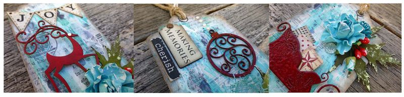 Christmas tags close up